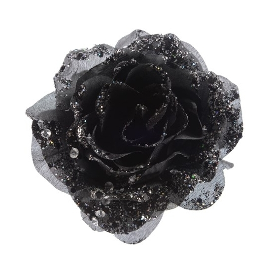 zwarte-glitter-roos-met-clip